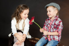 Funny Little Couple in love Royalty Free Stock Photography