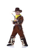 Funny little cowboy isolated on white Royalty Free Stock Photo