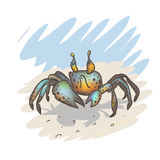 Funny little crab on the beach. The vector picture. EPS 8 Stock Photos