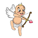 Funny little cupid aiming at someone. With an arrow of love Royalty Free Stock Image
