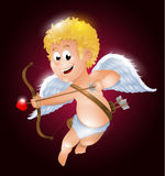 Funny little cupid aiming at someone. Illustration of a Valentine`s Day Stock Photos