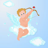 Funny little cupid aiming at someone. Stock Photo