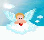 Funny little cupid aiming at someone. Royalty Free Stock Photo