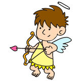 Funny little cupid aiming at someone Stock Image