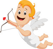Funny little cupid with bow and arrow Royalty Free Stock Photos