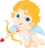 Funny little cupid boy aiming at someone Stock Image