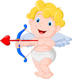 Funny little cupid cartoon aiming at someone Royalty Free Stock Photos