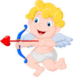 Funny little cupid cartoon aiming at someone Royalty Free Stock Image