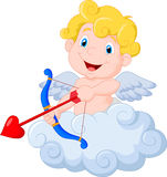 Funny little cupid cartoon aiming at someone Royalty Free Stock Images
