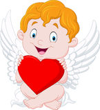Funny little cupid holding heart Royalty Free Stock Photos
