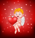 Funny little cupid holding love heart Stock Photography