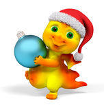 Funny little dragon character holding christmas bauble decoratio Royalty Free Stock Images