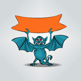 Funny little dragon with orange plate for text. Postcard. Royalty Free Stock Photos
