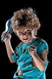 Funny little electrician with lightbulb royalty free stock image
