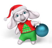 Funny little elephant character holding christmas bauble decorat Stock Image