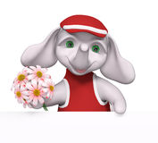 Funny little elephant character holding flowers in hands 3d rend Stock Photo