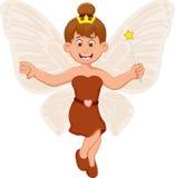 Funny little fairy girl cartoon flying vector illustration