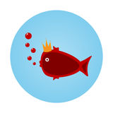 Funny little fish, crown, bubbles. Round blue background Stock Images