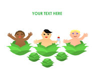 Funny little flat children in cabbage Stock Images