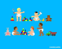 Funny little flat children play in the garden royalty free illustration