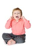 Funny little four years old boy teasing. Mouth Royalty Free Stock Photography