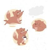 Funny little fox drinks cocoa Royalty Free Stock Photo