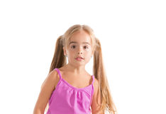 Funny little girl. Little girl standing in amazement, on a white background Stock Photo