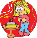 Funny Little Girl Blowing Out Candle on Birthday Cake Cartoon Stock Photos