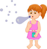 Funny little girl cartoon playing bubble Stock Images