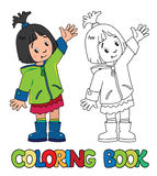 Funny little girl. Coloring book. Coloring book of funny girl in green coat and rubber waving by hand. Children vector illustration Stock Images