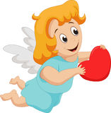 Funny little girl cupid holding red heart Stock Images