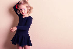 Funny little girl dancing. Royalty Free Stock Images
