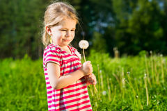 Funny little girl with dandelion in her hands makes wish Stock Photos
