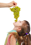 Funny little girl eating grapes from hand Stock Image