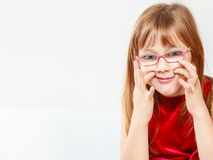 Funny little girl in glasses Royalty Free Stock Images