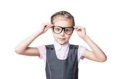 Funny little girl in glasses Stock Photos