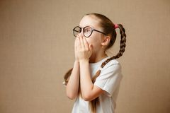 Little Girl in glases Having Fun Portrait royalty free stock photo