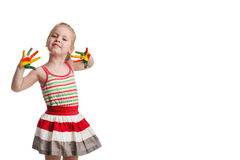 Funny little girl with hands painted in colorful paint. Isolated Stock Photos