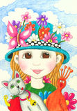 Funny little girl with hat Royalty Free Stock Images
