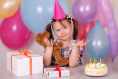 Funny little girl on her Birthday Stock Photography