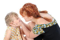 Funny little girl with her mother. Stock Photo