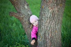 Funny little girl hides behind tree Royalty Free Stock Images