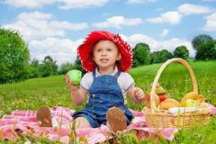 Funny little girl holding cup Stock Photos