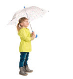 Funny little girl holding umbrella in hand Royalty Free Stock Photos