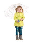 Funny little girl holding umbrella in hand Stock Photos
