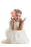 Funny little girl in long dress Royalty Free Stock Photo