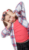 Funny little girl making faces Stock Photos