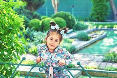 Funny little girl in the Park. Portrait of a little girl in the Park Royalty Free Stock Photo