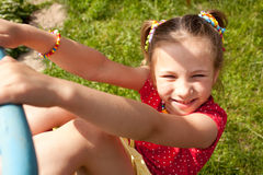 Funny little girl with pigtails Stock Images