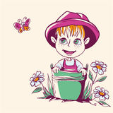 Funny little girl in a pink hat. Very funny little girl in a pink hat vector illustration